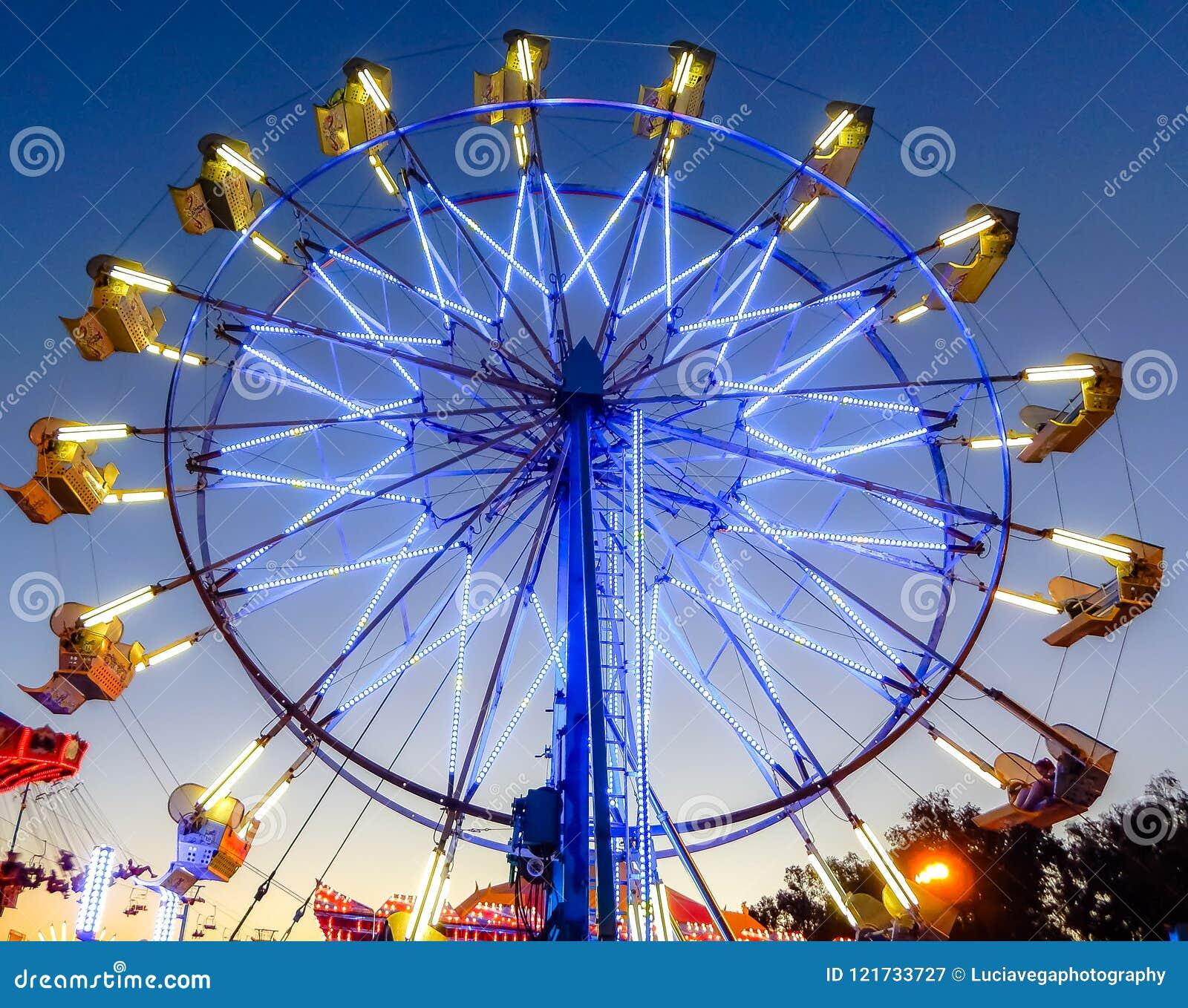 Blue Ferris Wheel Ride Of California State Fair Stock Image