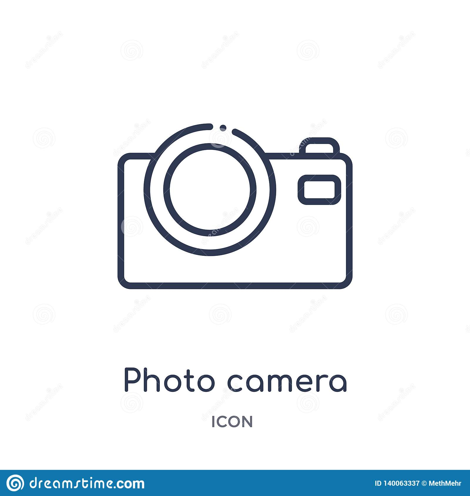 Photo camera icon from music and media outline collection. Thin line photo camera icon isolated on white background