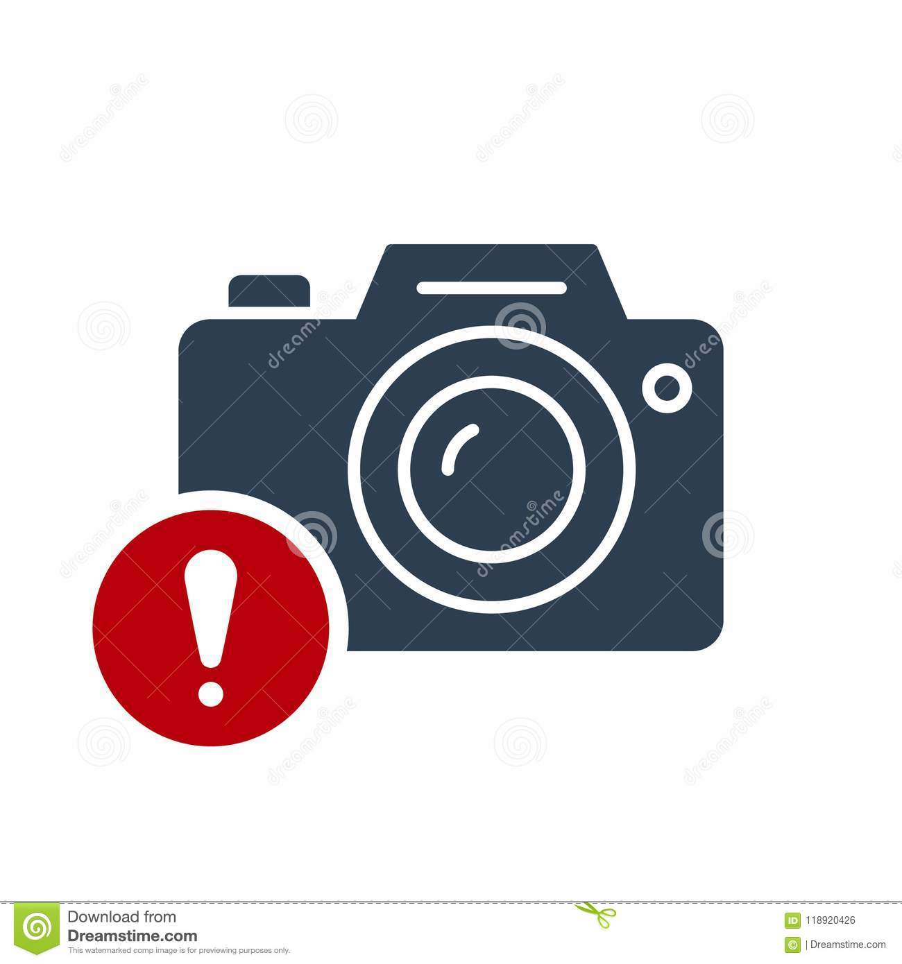 Photo camera icon, technology icon with exclamation mark. Photo camera icon and alert, error, alarm, danger symbol