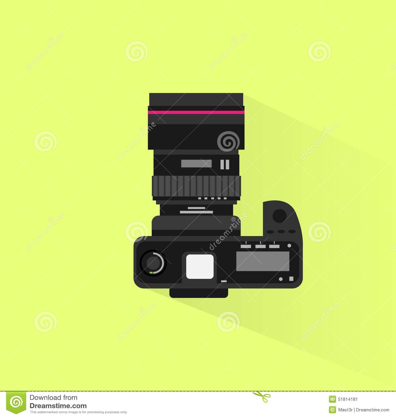 Photo camera top view icon flat design vector stock vector for Top view design