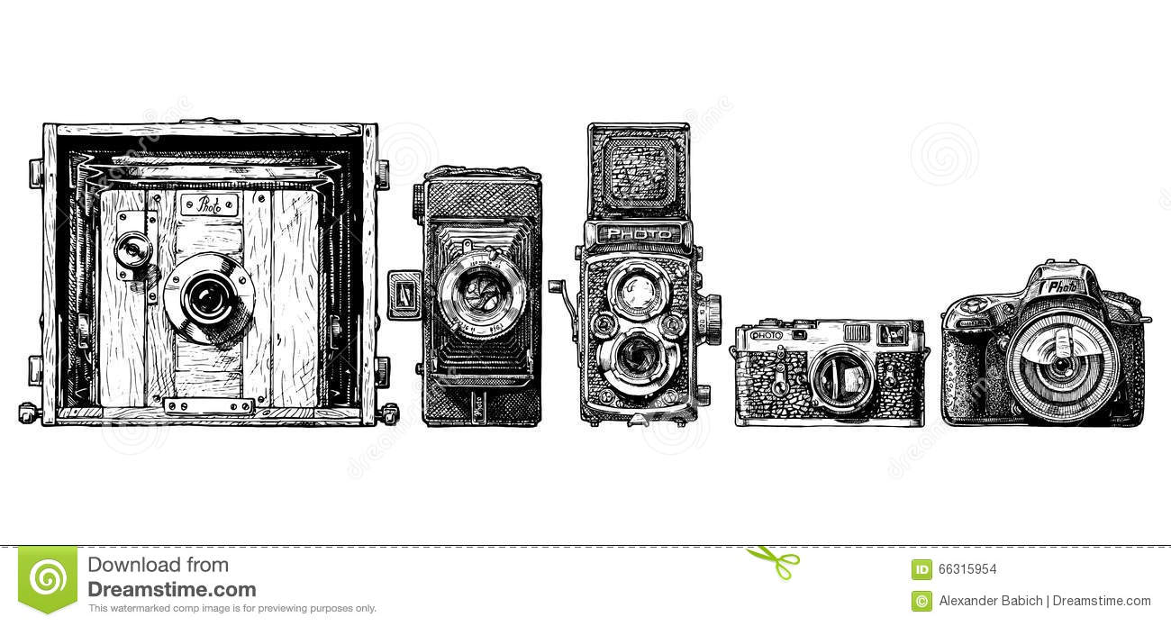 photo cameras evolution set stock vector image 66315954 Vintage Camera Background vintage camera clipart
