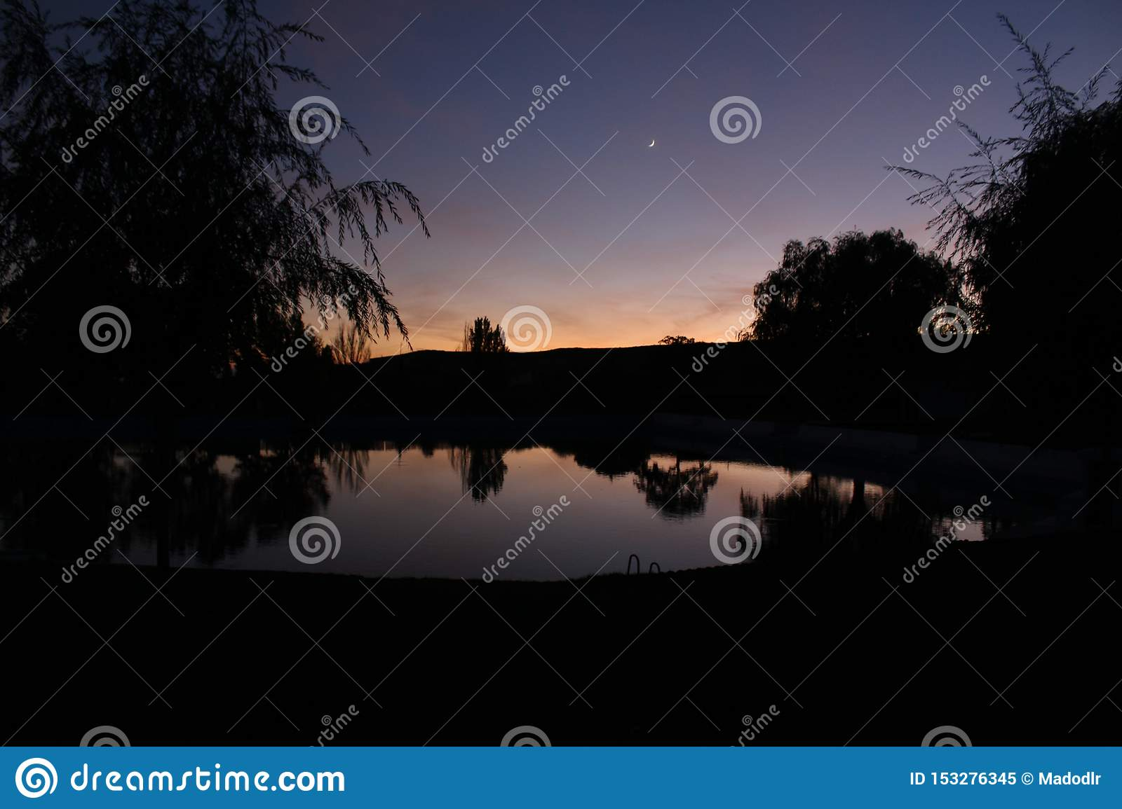 Nice sunset in a natural spring