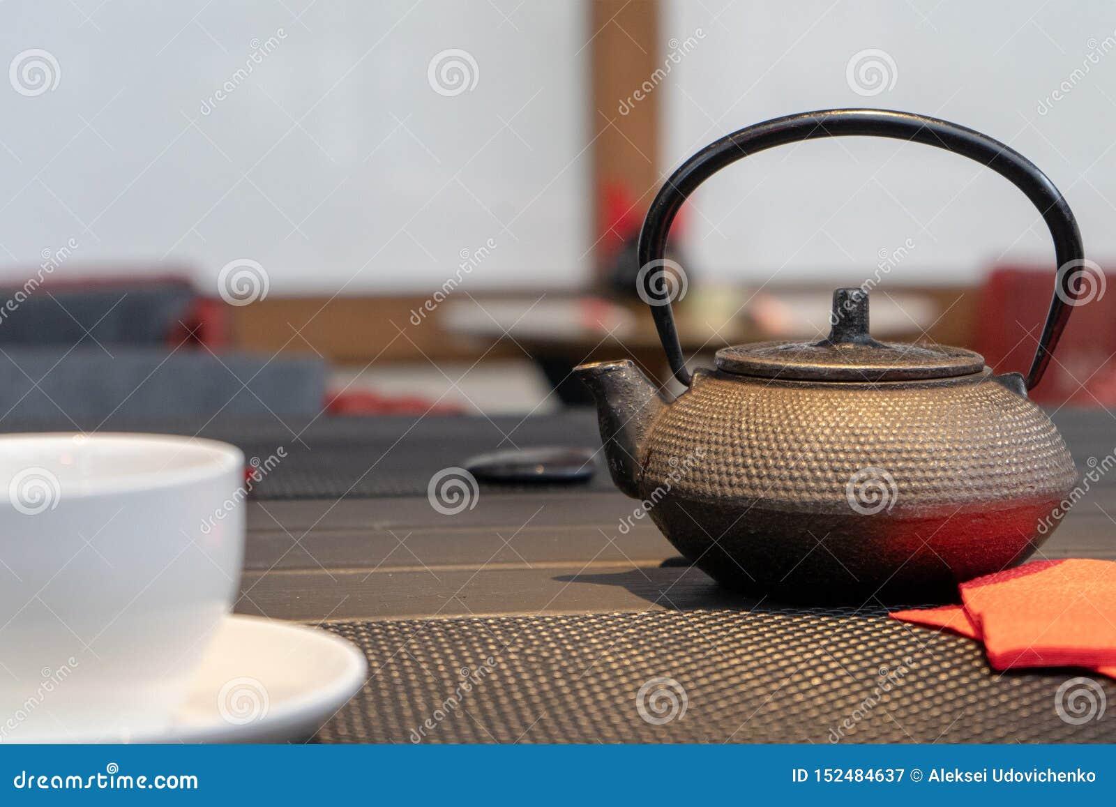 Photo of cast iron kettle under warm light