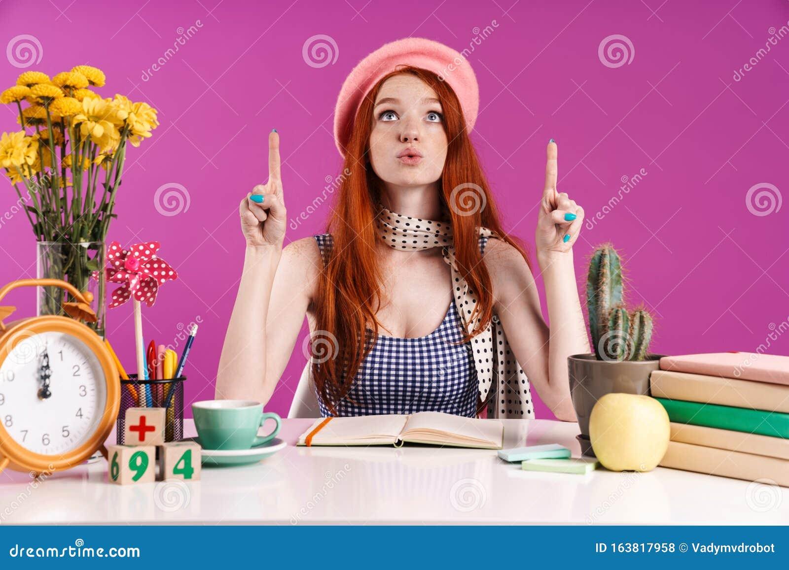 Girl Studying. Girl Doing Her Homework. School Books On