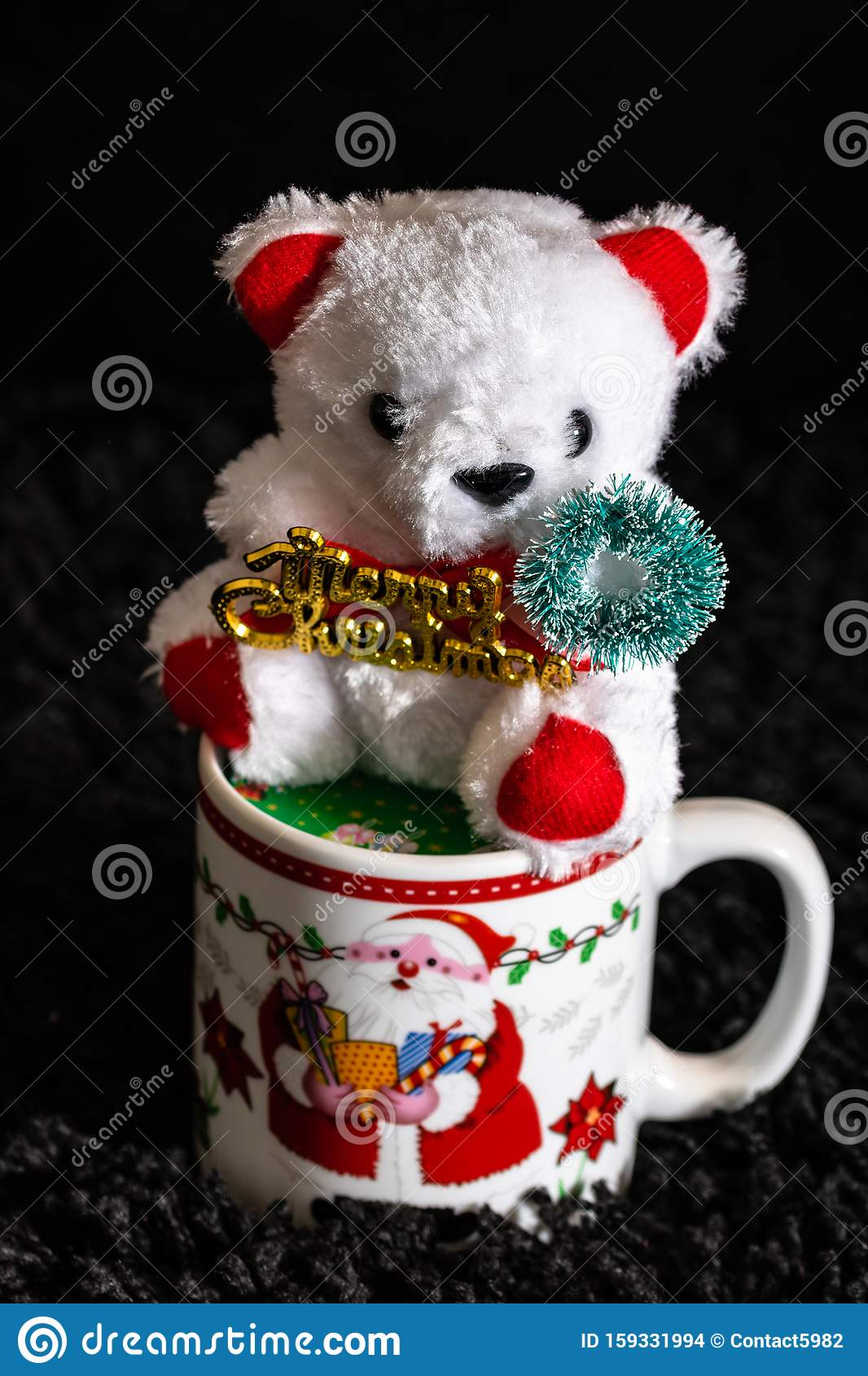 Photo Of Christmas Decorations Teddy Bear In A Christmas Mug Colorful Decorations Stock Photo Image Of Gold Decor 159331994
