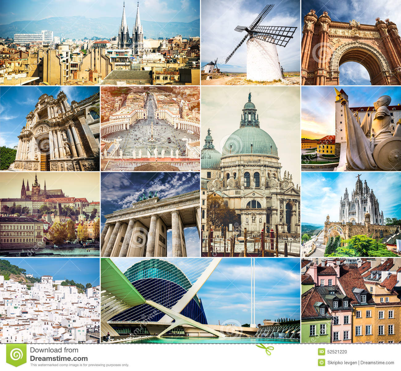 photo collage architecture ancient cities world 52521220