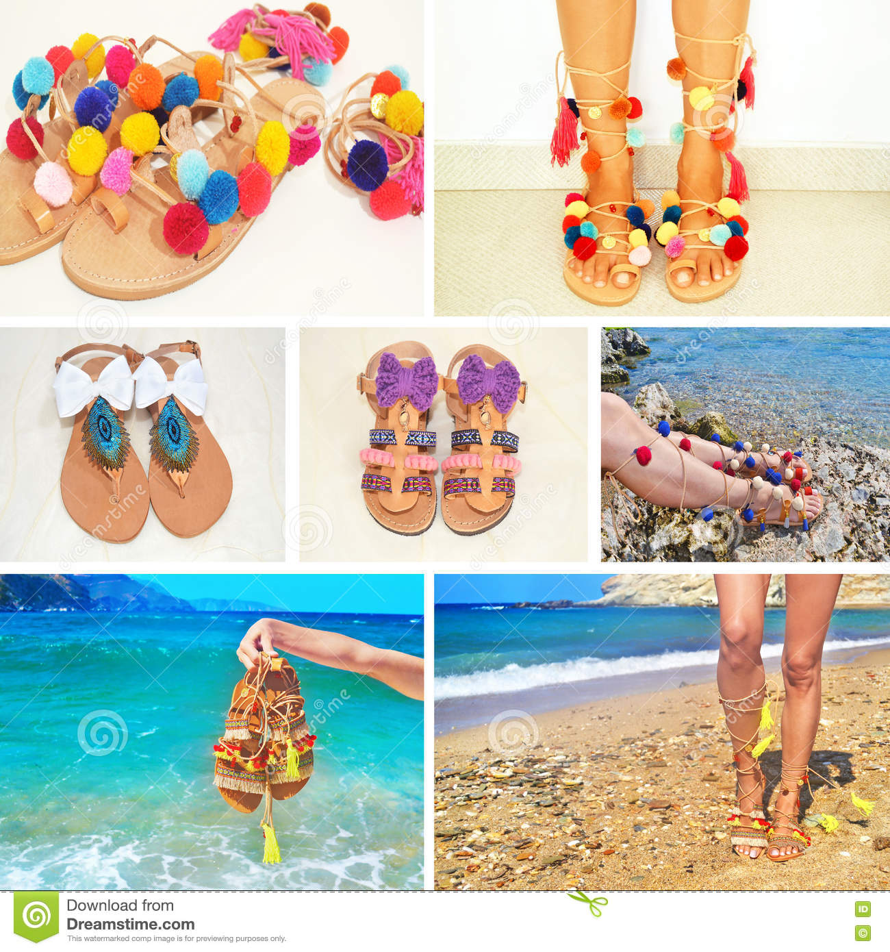 Photo collage of bohemian greek sandals