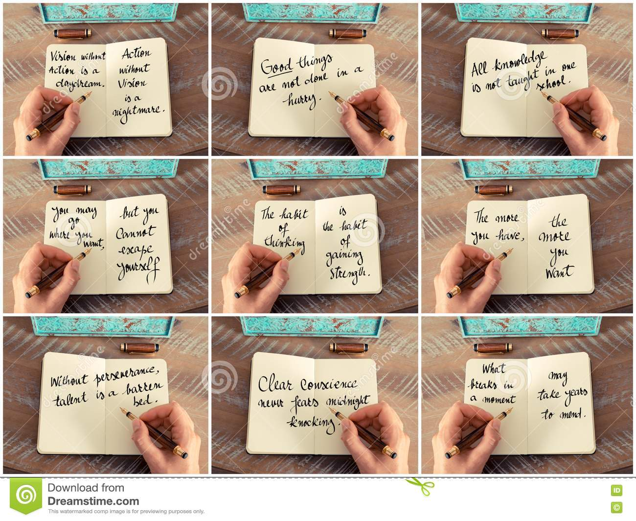 Photo Collage Of Handwritten Quotes On Notebook Stock Image ...