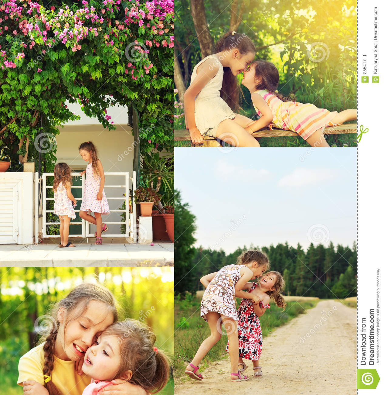 Photo collage of happy smiling and laughing Children Playing, ru