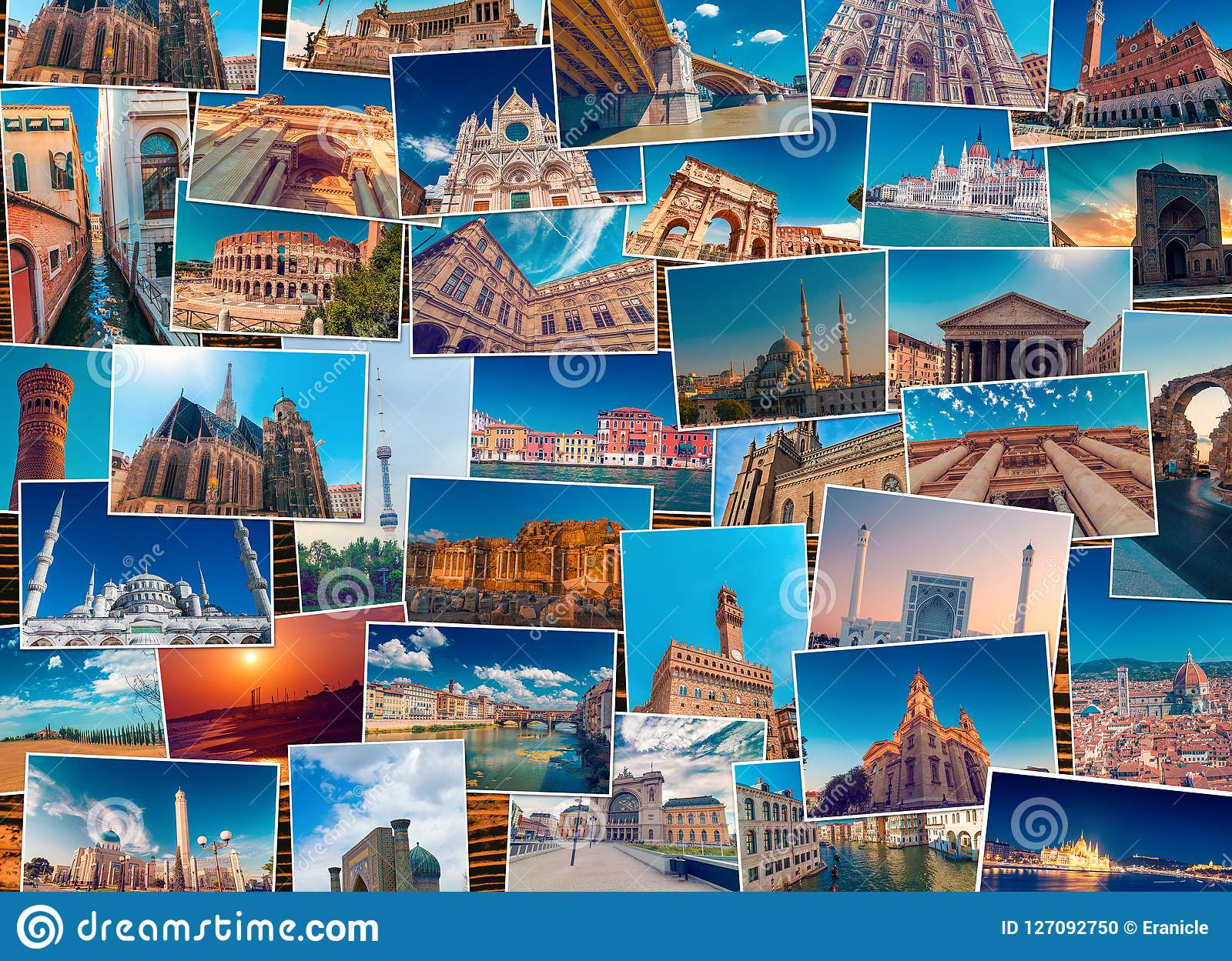 Photo Collage Made Of Diverse World Travel Destinations Stock Photo Image Of Many Different 127092750