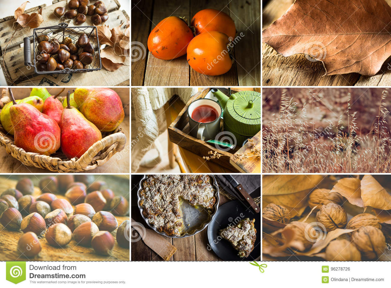 Download Photo Collage Nine Square Images, Autumn, Fall, Hazelnuts, Walnuts, Persimmons, Pears, Chestnuts, Apple Pie, Fruit Tea, Book, Dry Stock Photo - Image of atmosphere, book: 96278726