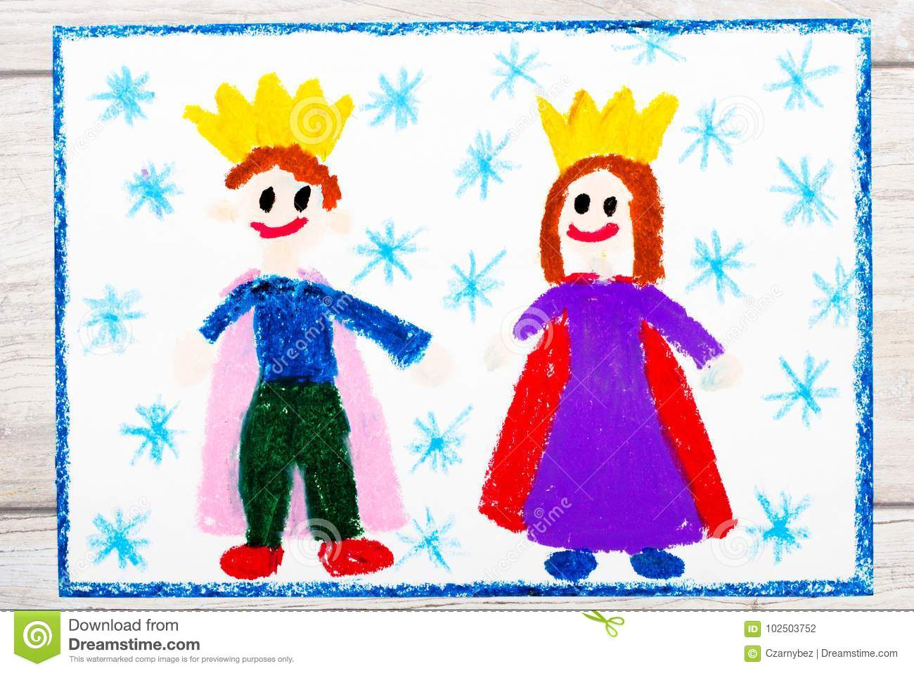 Drawing Smiling King And Queen With Their Crowns Stock Illustration