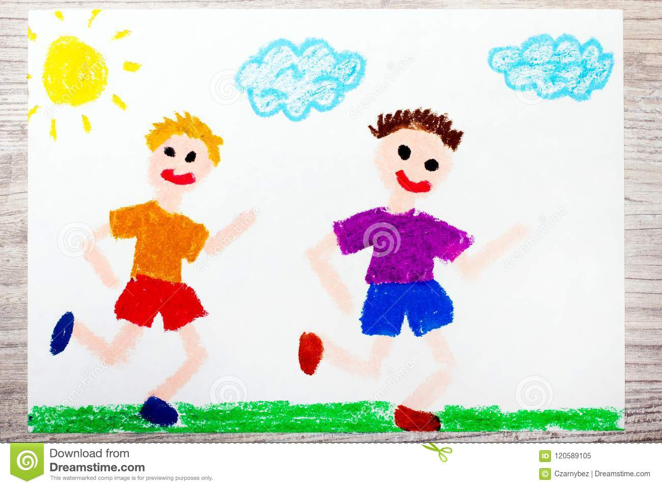 Drawing two smiling running boys