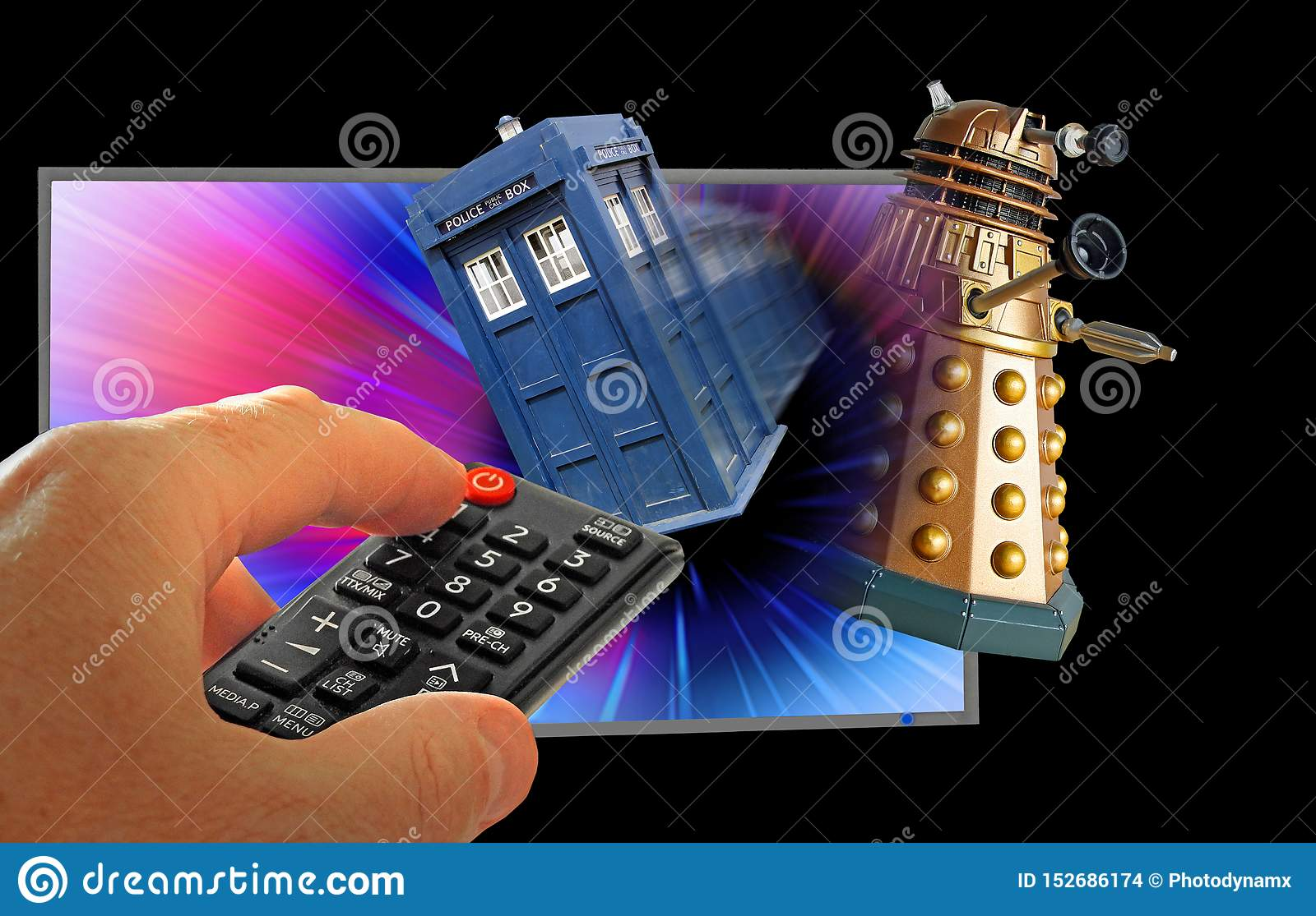 Doctor who tardis chase dalek through space television show remote control hand