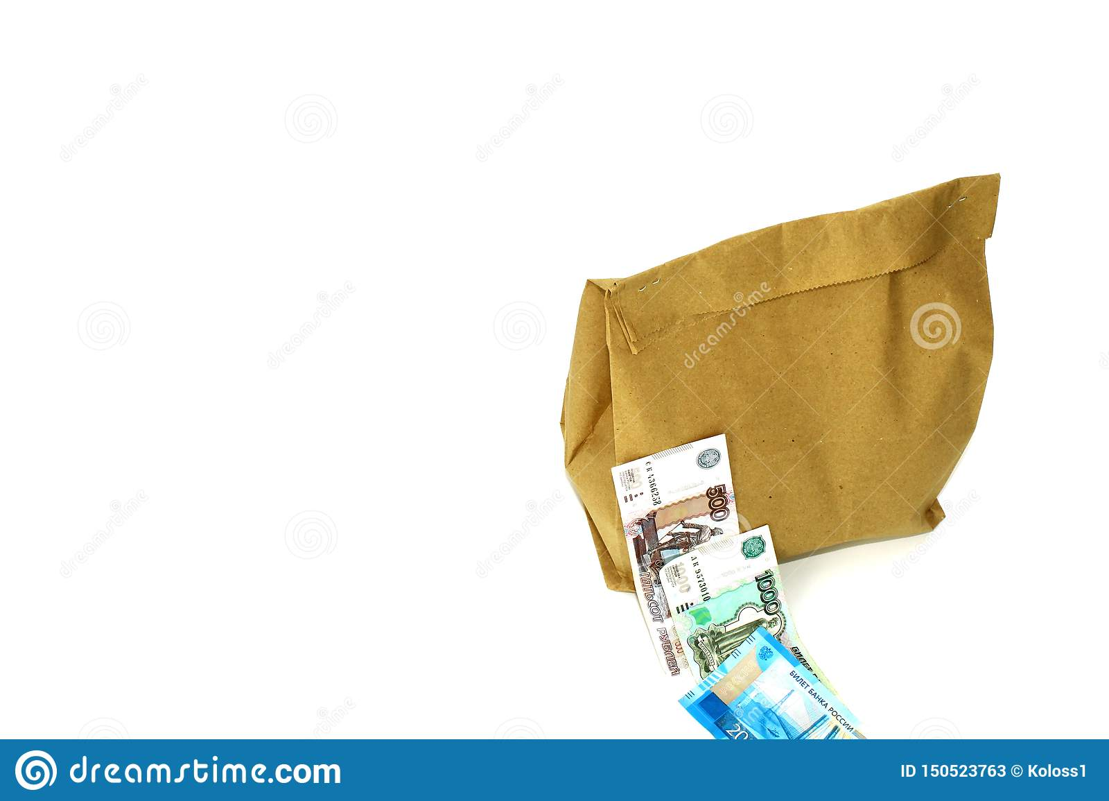 A paper bag with food inside. Money. On white background