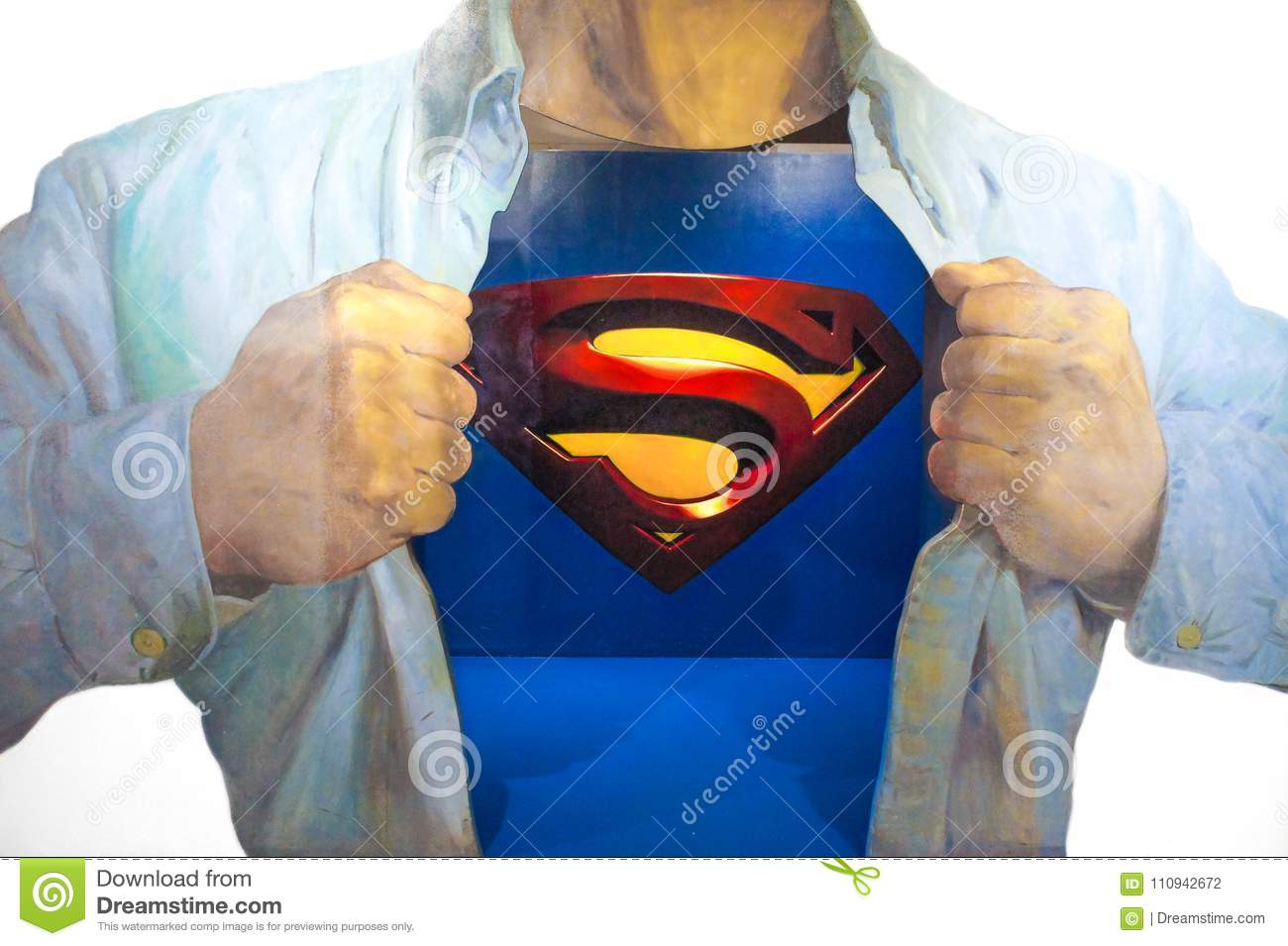 Photo of 3D Wall Painting of Superman, from a famous scene where Clark Kent is transforming into Superman by wearing on top of hi