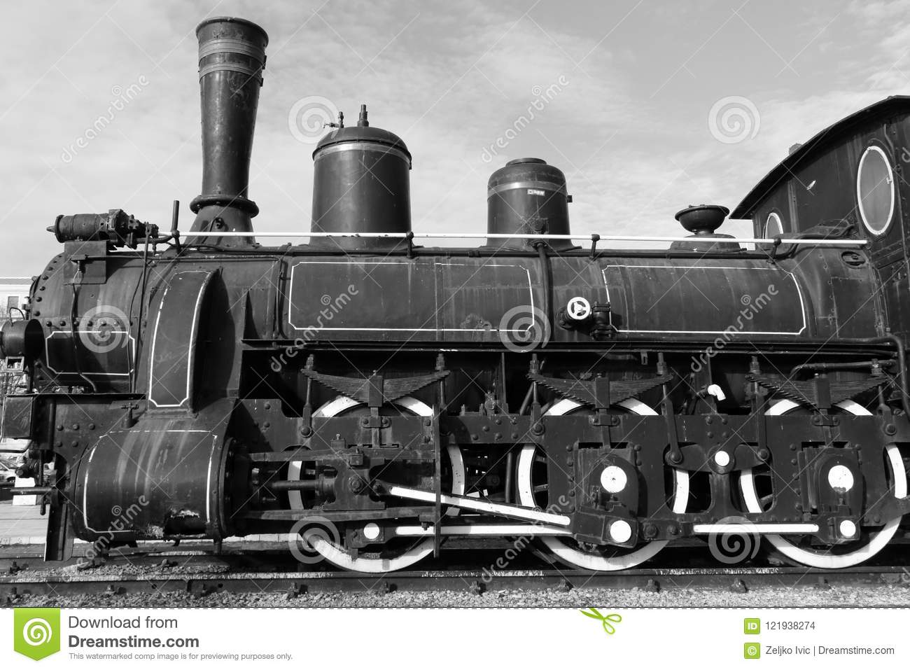 Photo de monochrome de locomotive à vapeur