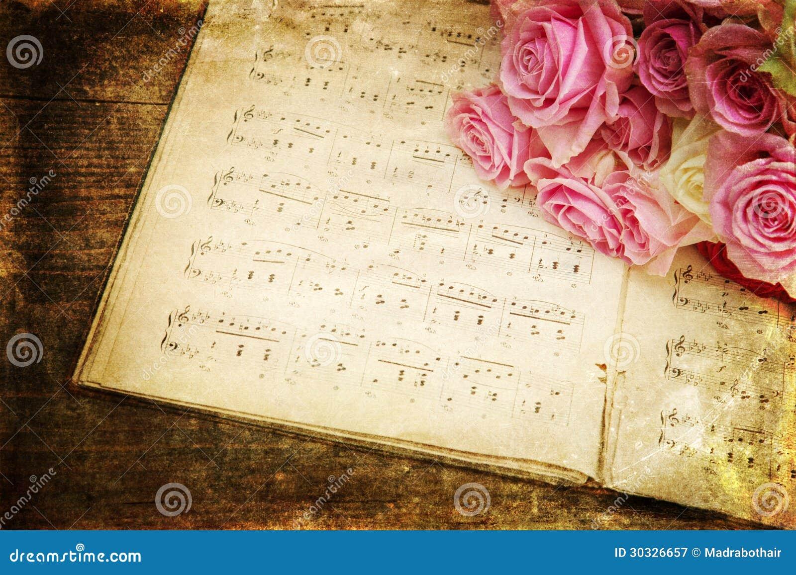 photo de style de vintage des roses et des notes de musique image stock image du romantique. Black Bedroom Furniture Sets. Home Design Ideas