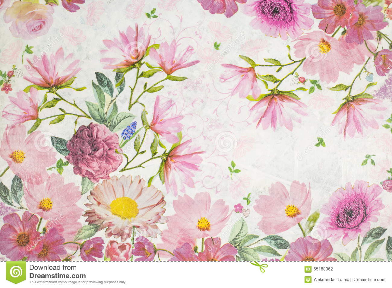 Photo of a decoupage decorated flower pattern