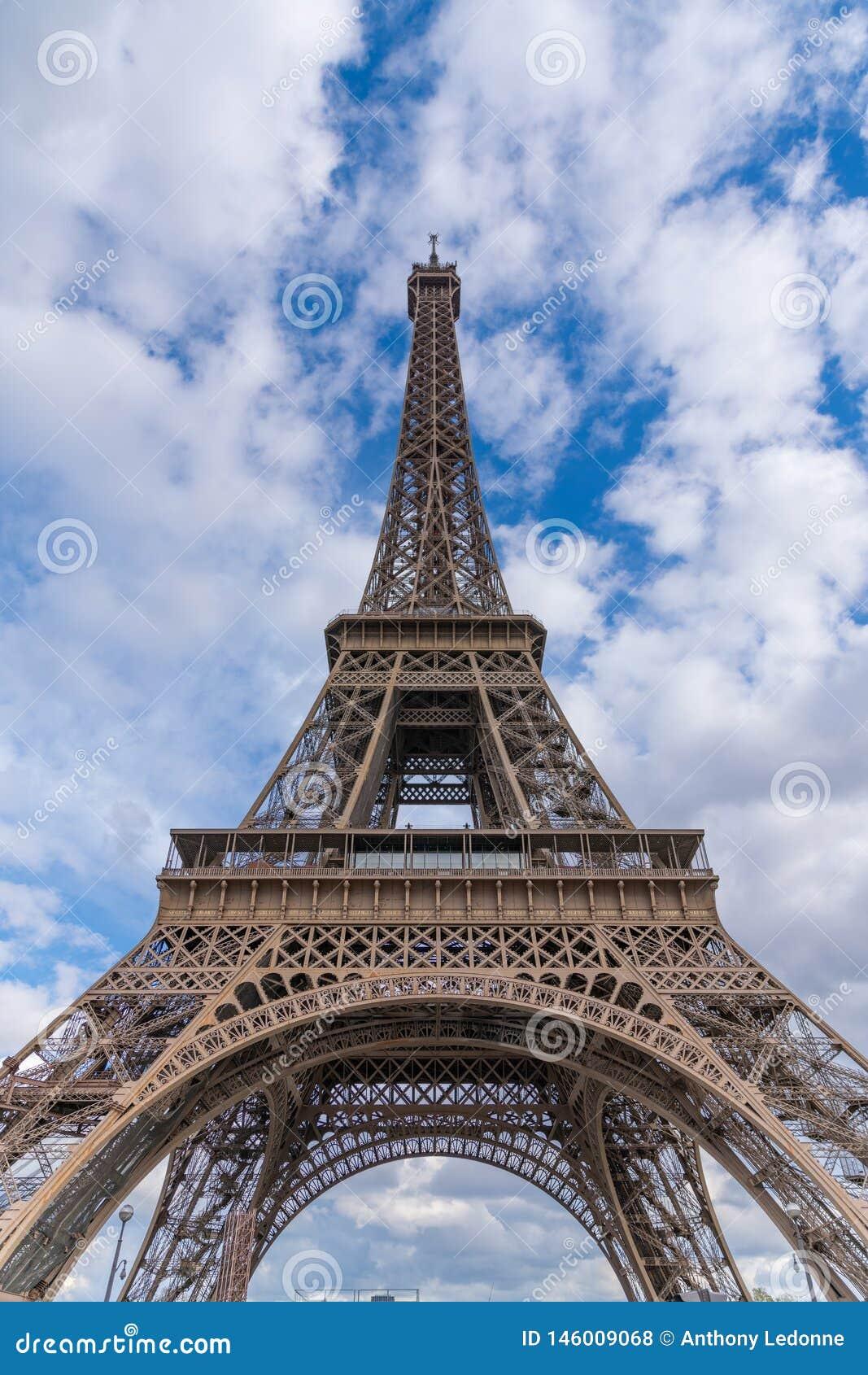 Blue Skies Behind The Eiffel Tower in Paris, France
