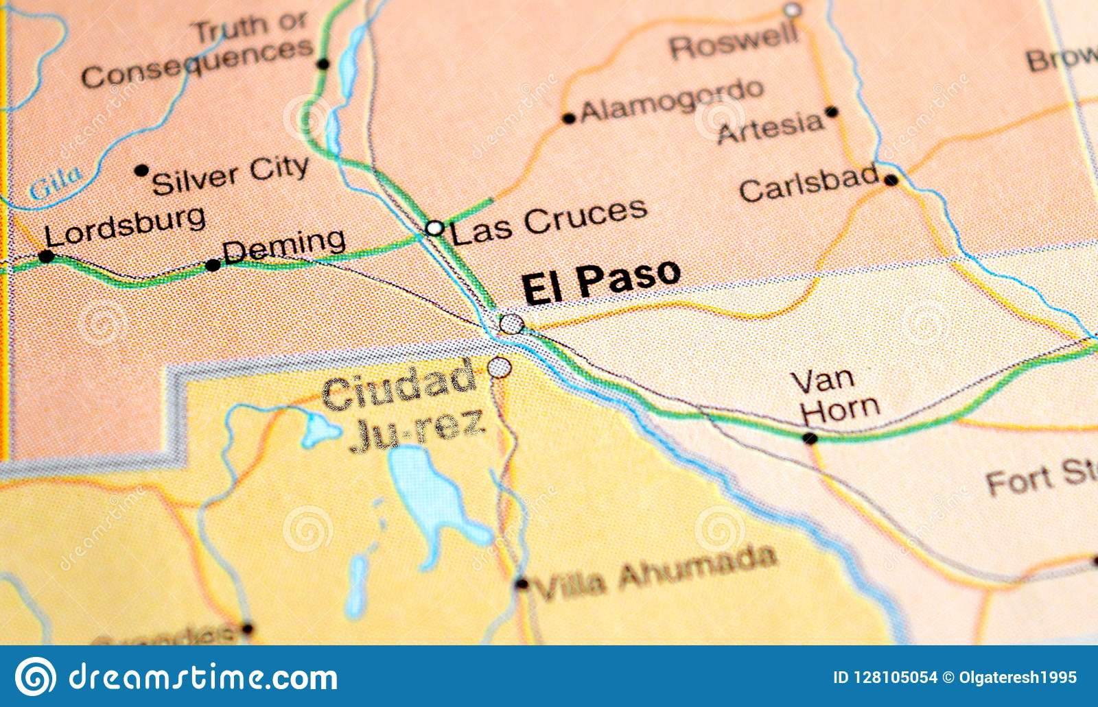 A Photo Of El Paso On A Map Stock Photo - Image of travel ...