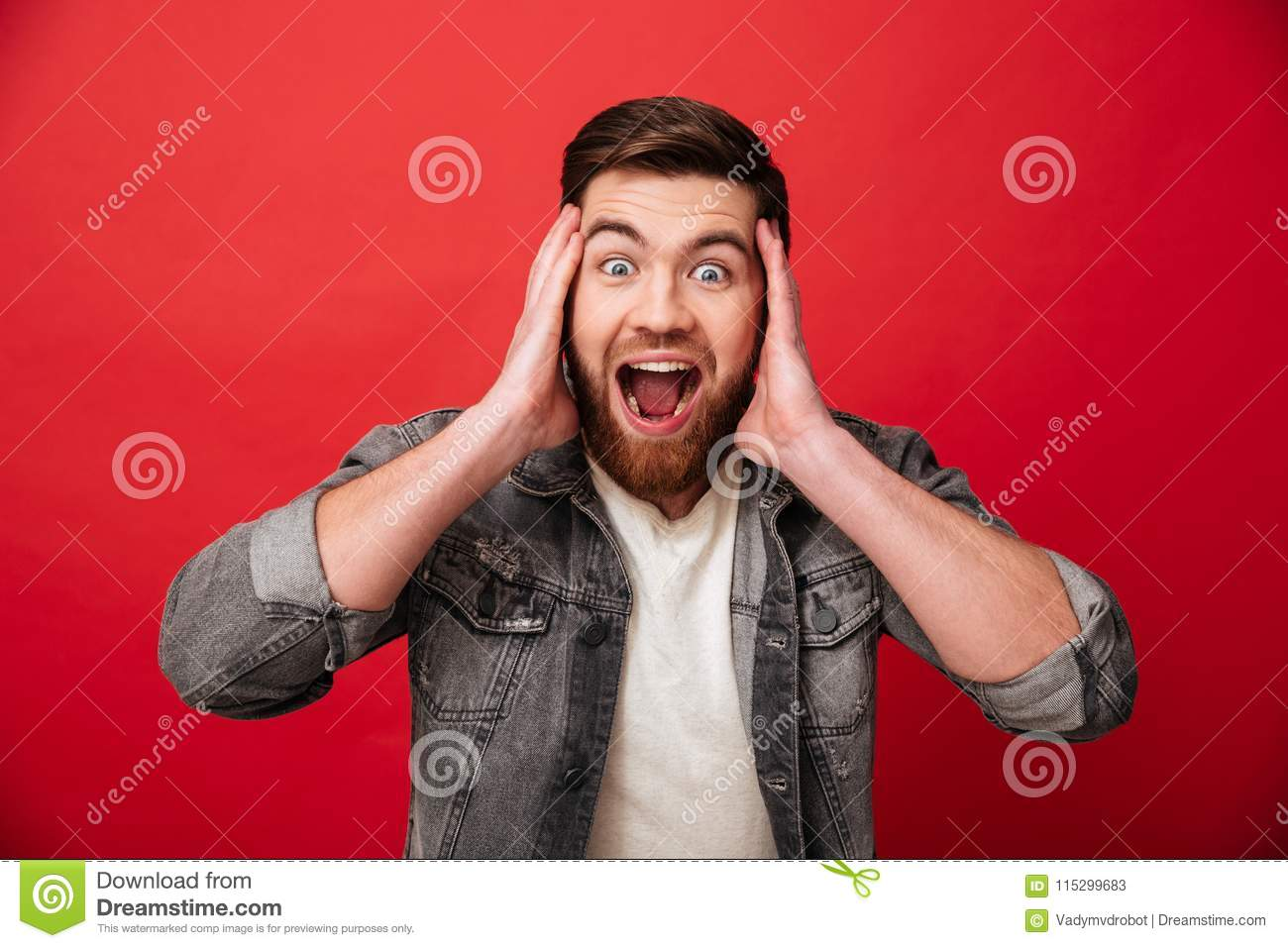 Photo of emotional guy 30s wearing beard in jeans jacket screaming and grabbing head in delight, isolated over red background