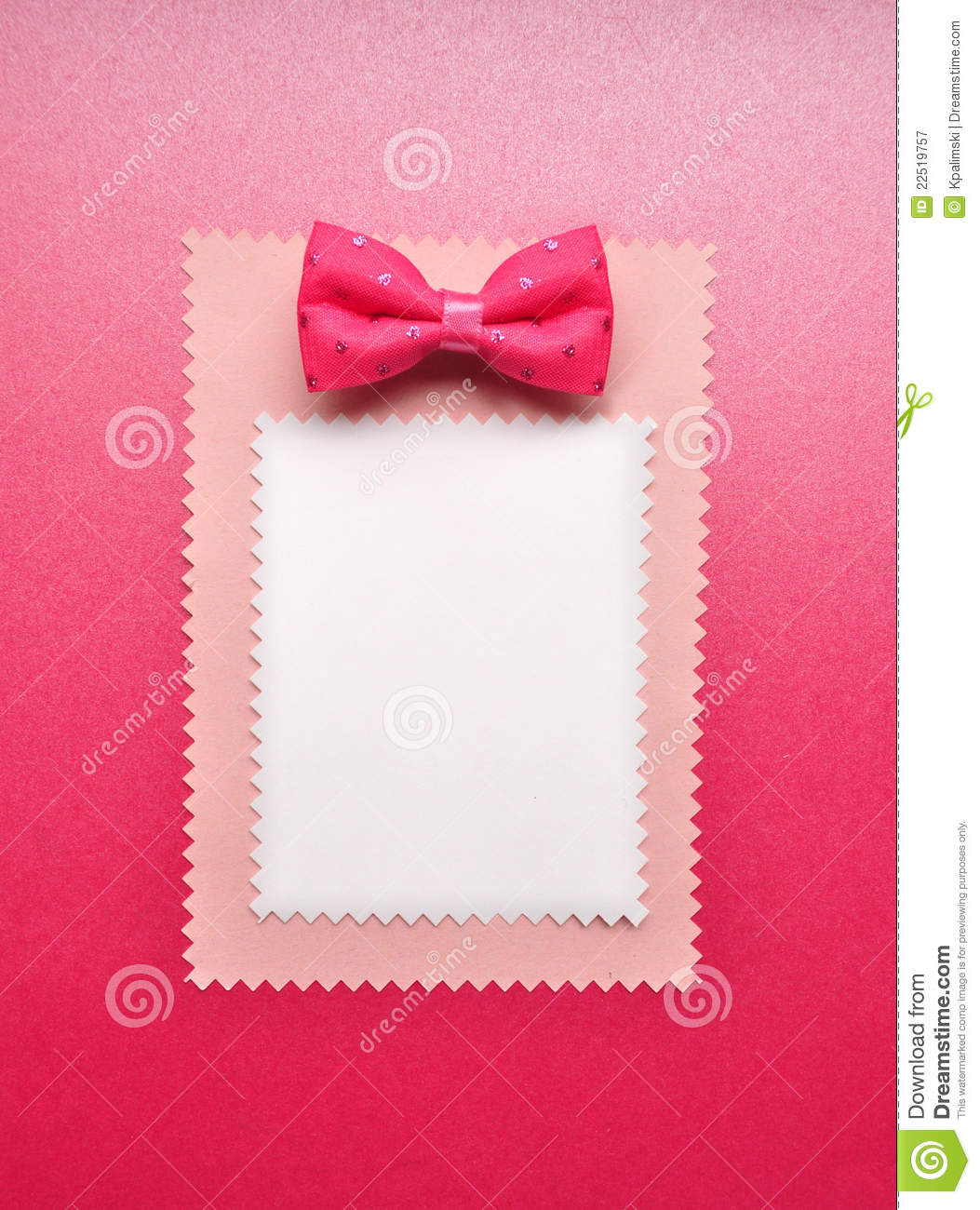 photo of empty card with bow royalty free stock photography