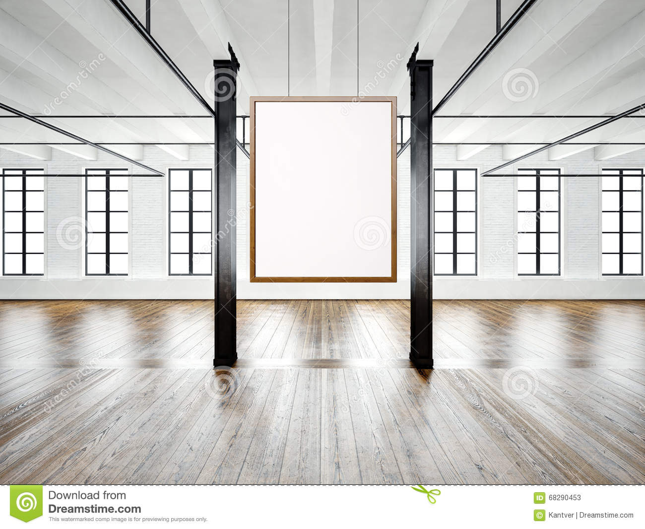 photo of empty interior in modern building open space loft empty white canvas hanging