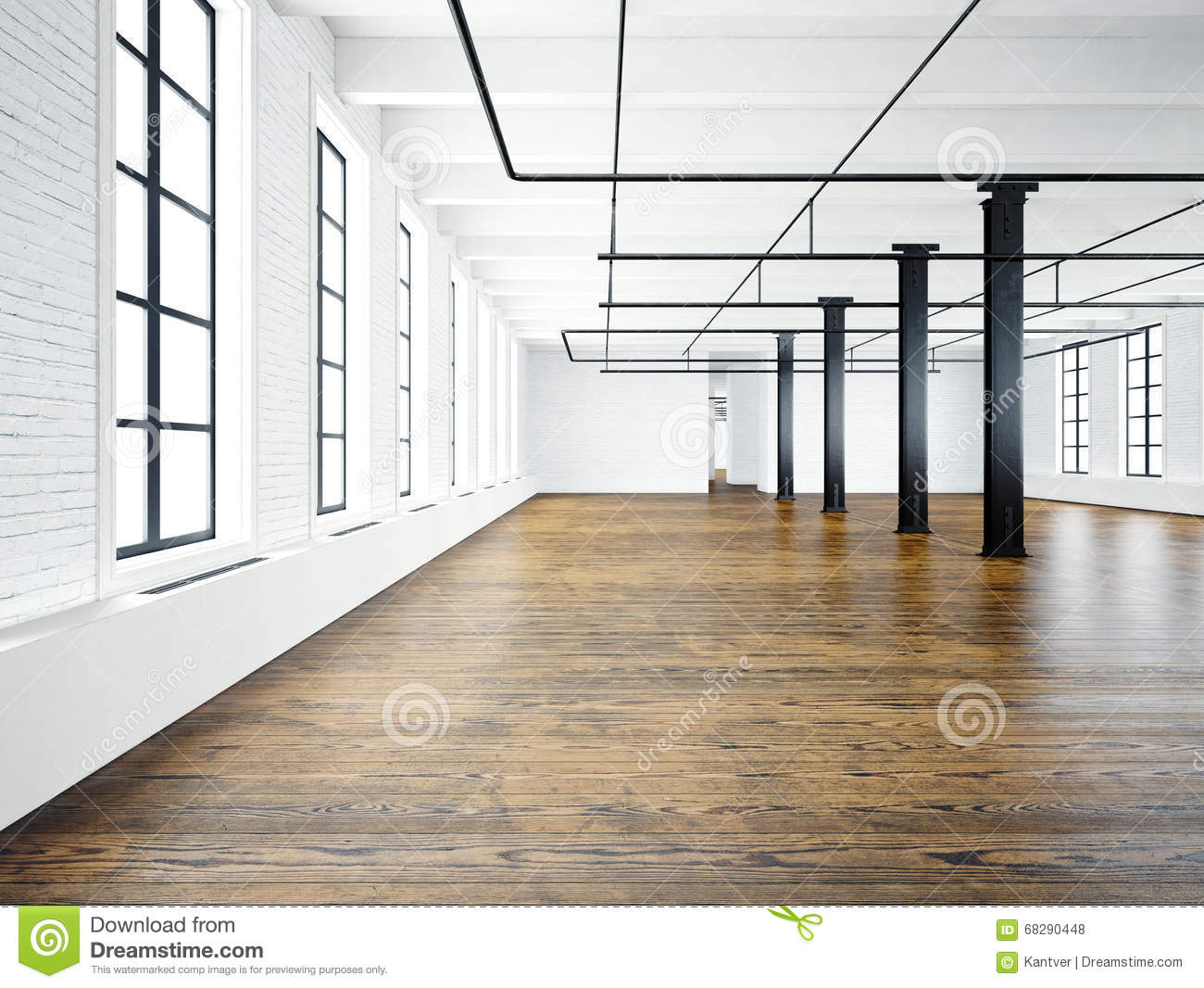 Photo of empty interior in modern building open space loft for Open space inside a building
