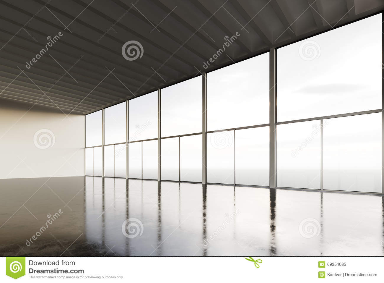 Photo of empty open space room modern building empty for Open space inside a building