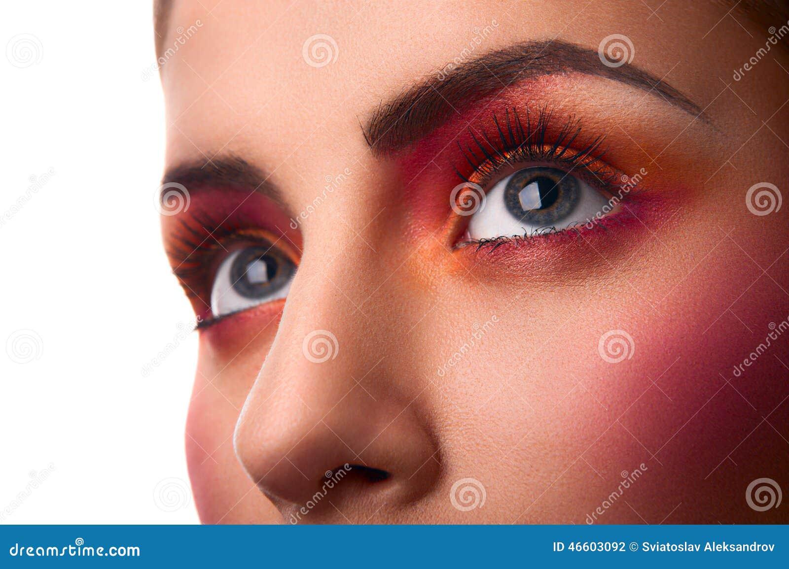 Photo En Gros Plan De Maquillage Rose Et Orange De Beauté
