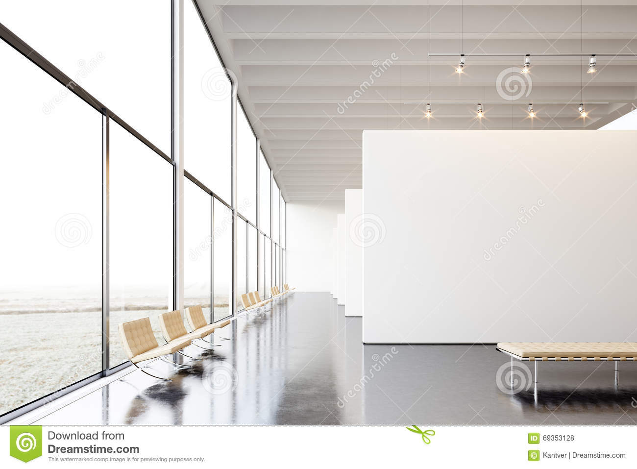 Photo exposition modern gallery open space white empty for Interieur contemporain photo