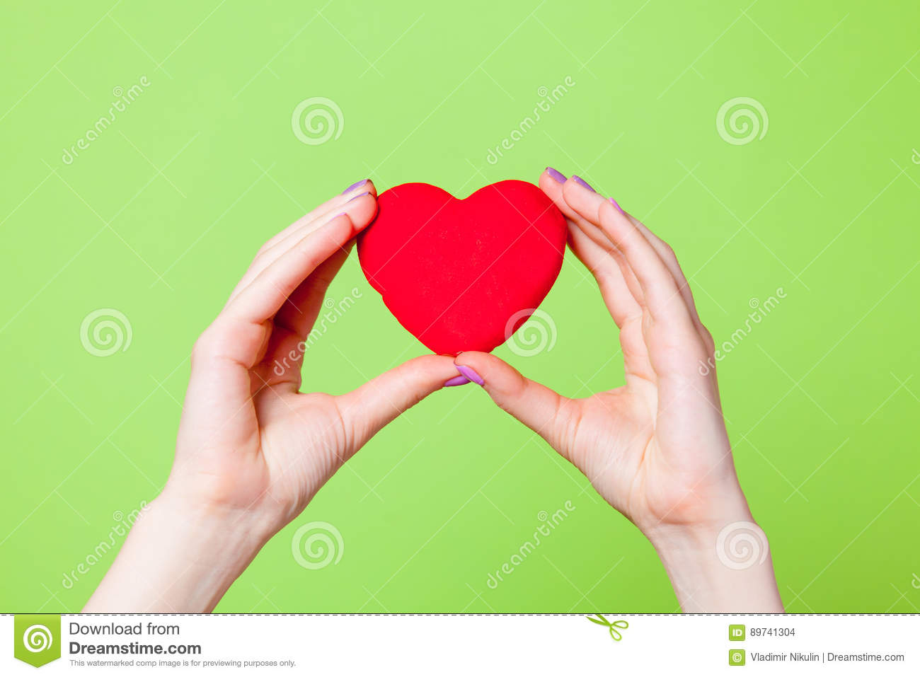 Photo of female hands holding heart shaped toy on the wonderful