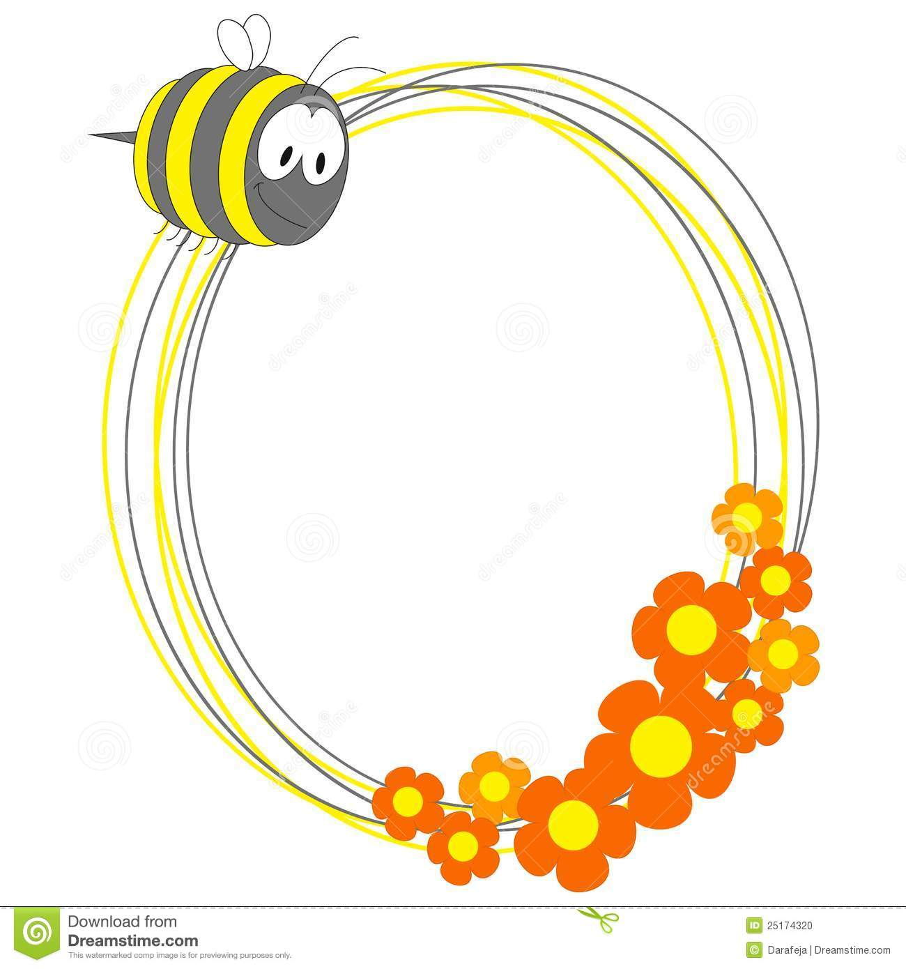 Photo Frame With Bee And Flowers Stock Photo Image 25174320