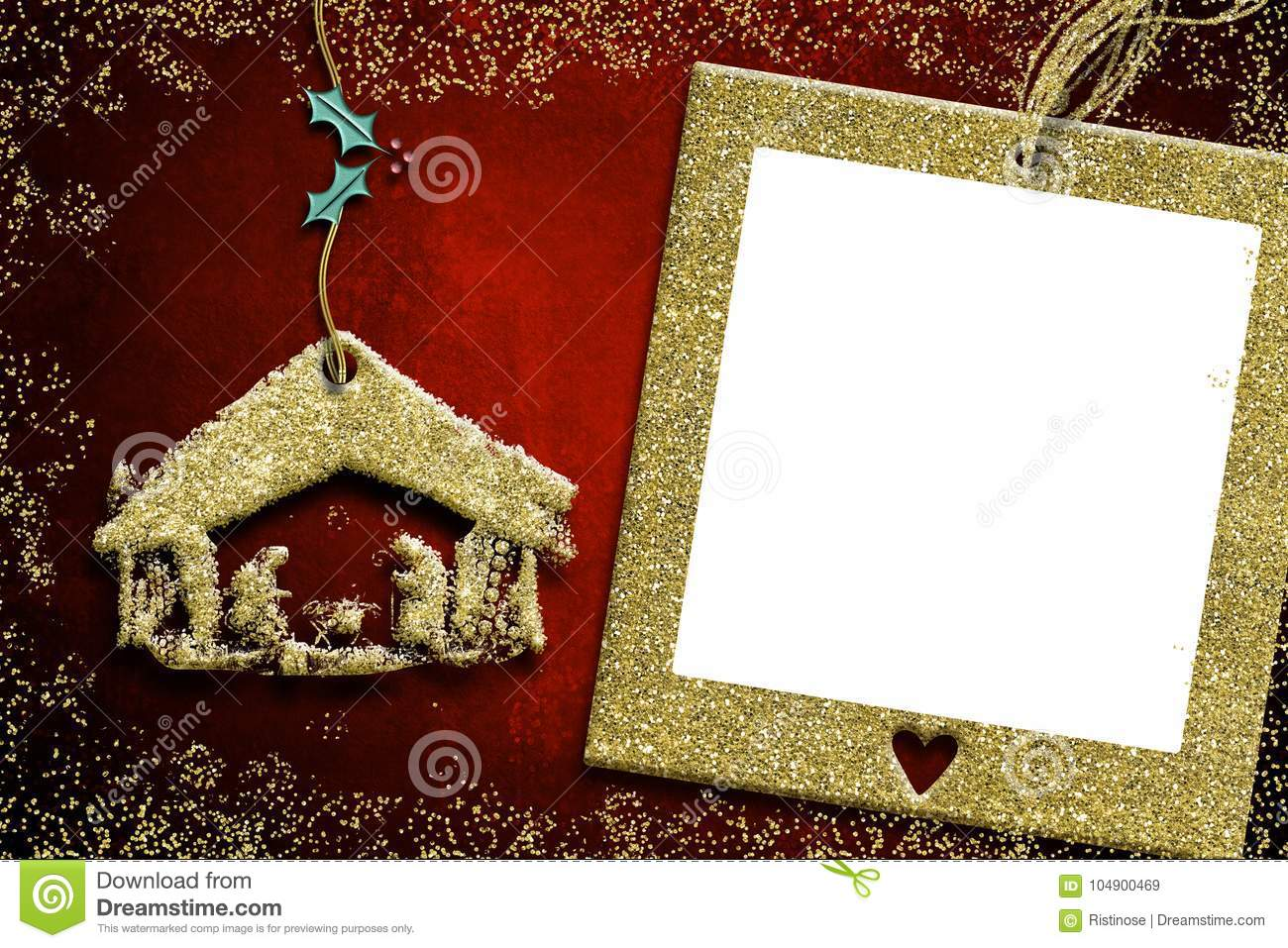 Photo Frame Christmas Cards, Nativity Scene Stock Image - Image of ...