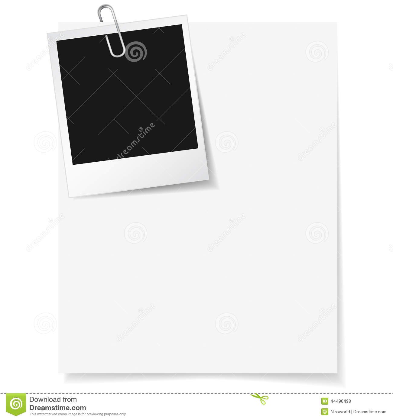 Photo Frame Clipped On Paper Stock Vector - Illustration of team ...