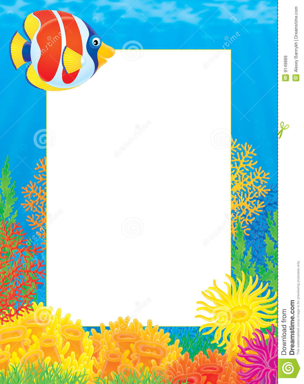 Photo frame with coral fish stock illustration for Fish photo frame