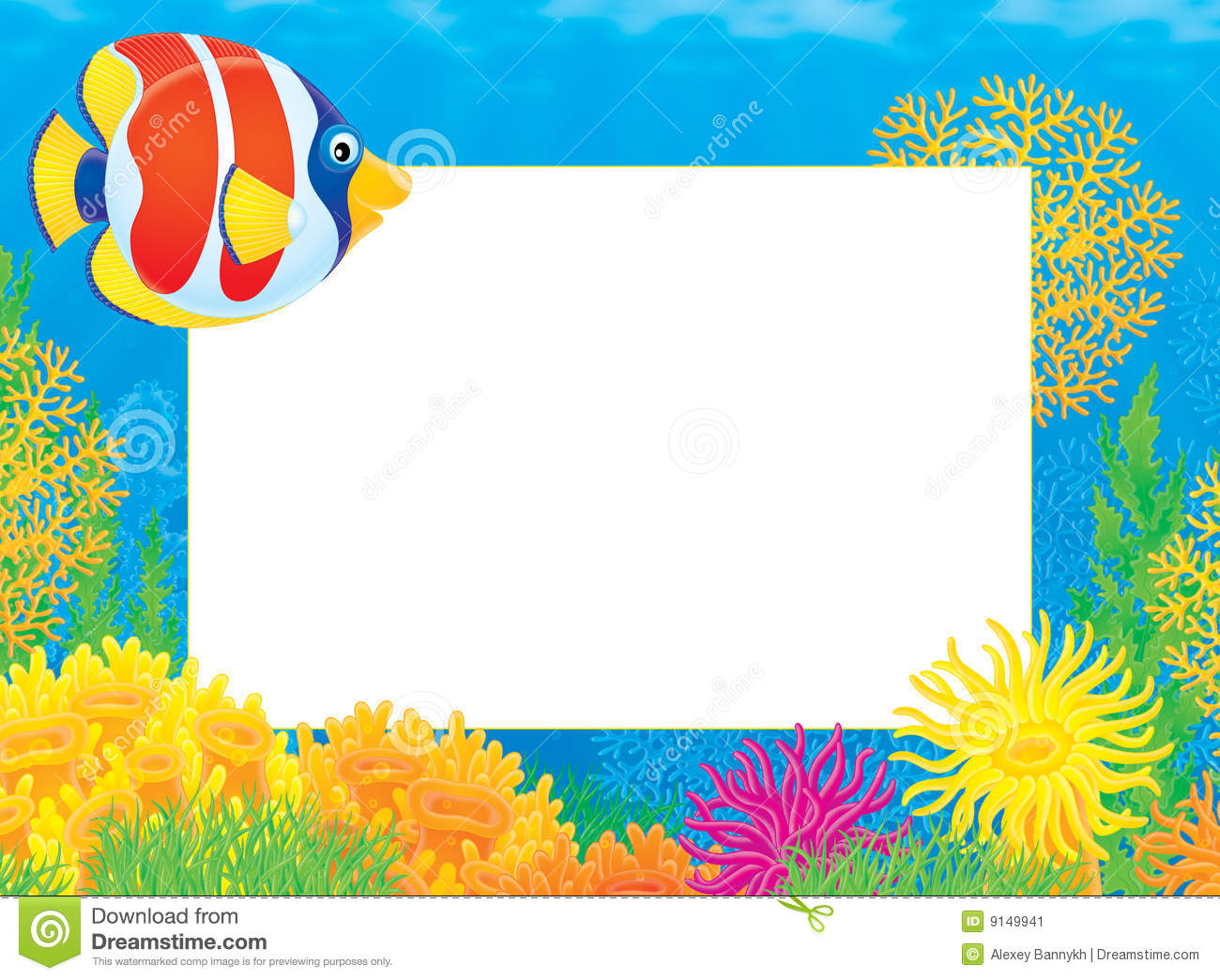 Photo frame with coral fish stock image image 9149941 for Fish photo frame