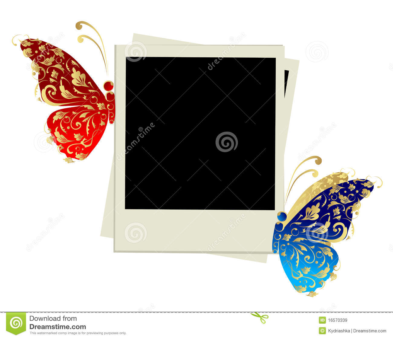 photo frame design with butterfly decoration stock vector. Black Bedroom Furniture Sets. Home Design Ideas