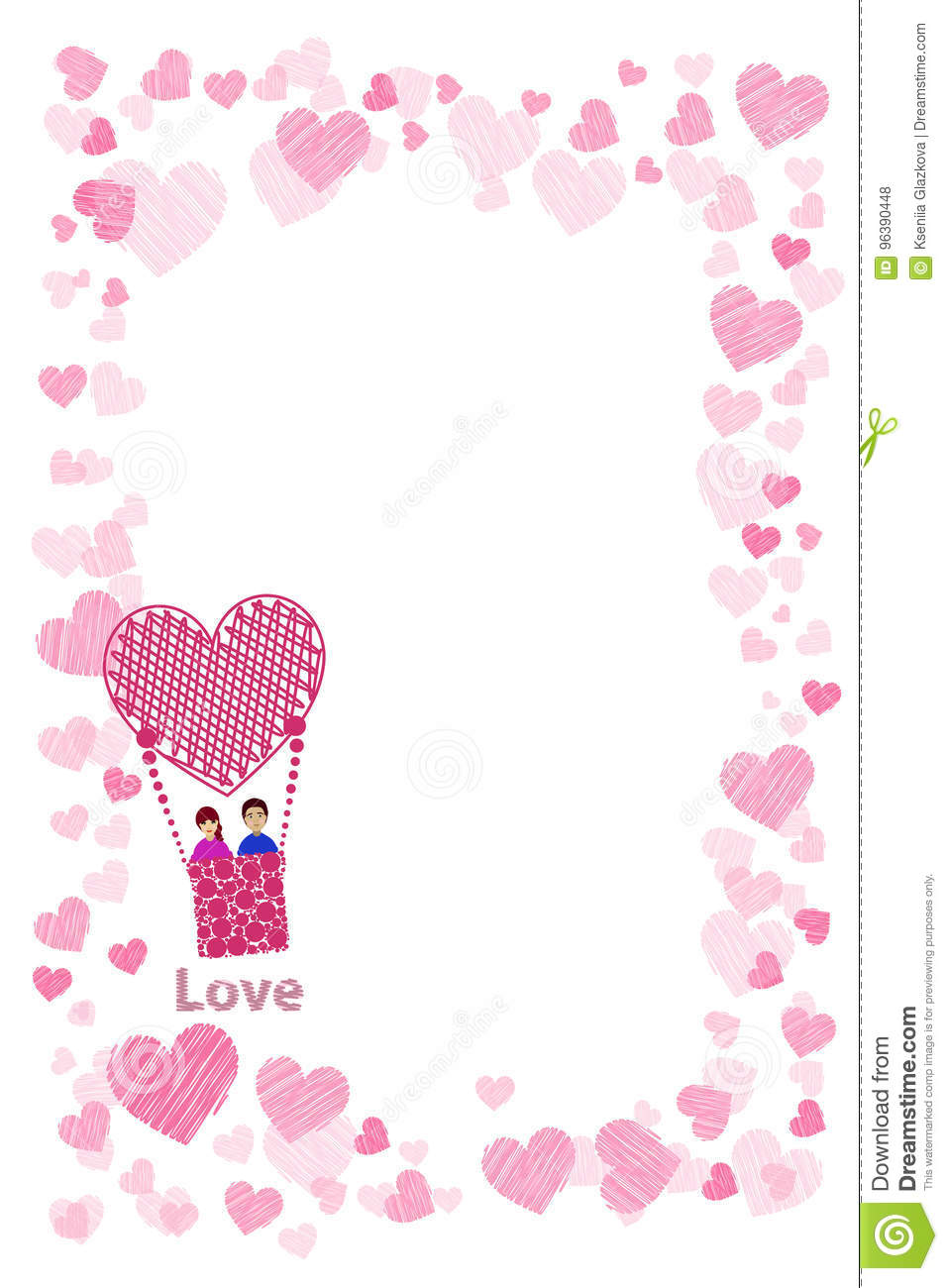 Photo Frame. Hearts. For Lovers. The Couple Stock Illustration ...