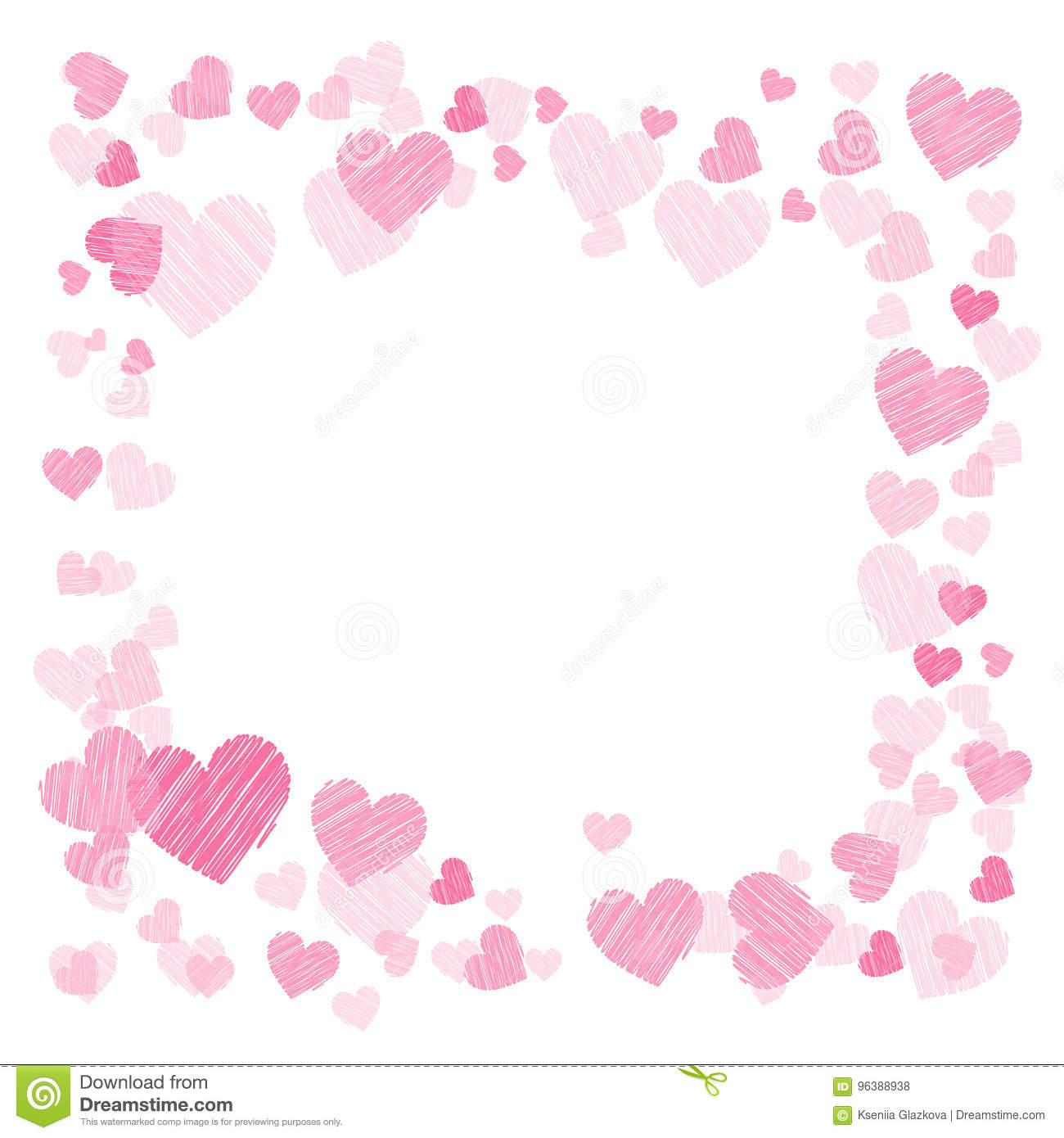 Photo Frame. Hearts. For Lovers. Square Stock Illustration ...