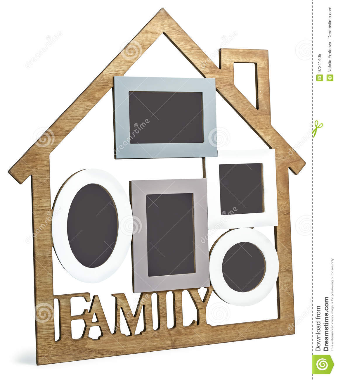 Photo Frame House Consists Of Five Frames And The Text Family Stock ...