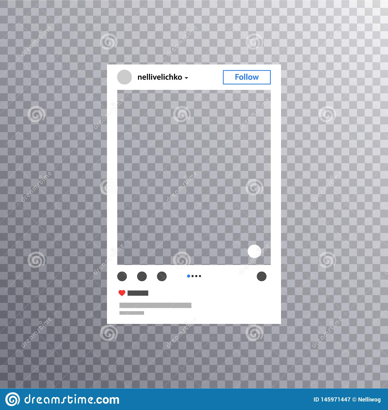 Photo frame inspired by instagram for friends internet sharing. Social media Photo frame Post in a social network Mock up