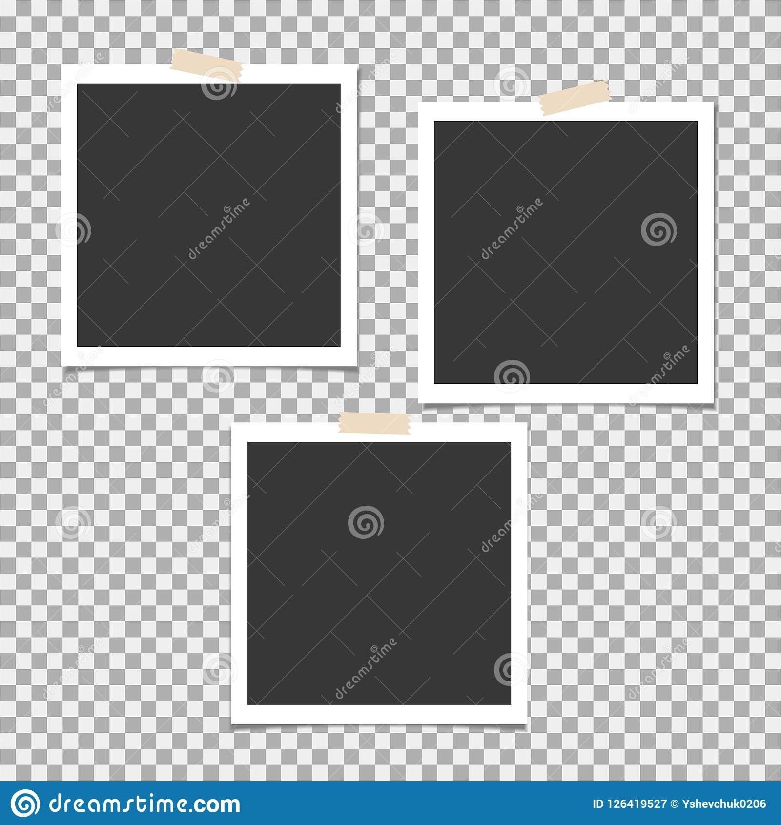 Photo Frame With Sticky Tape On Grey Background Template Blank For Your Trendy