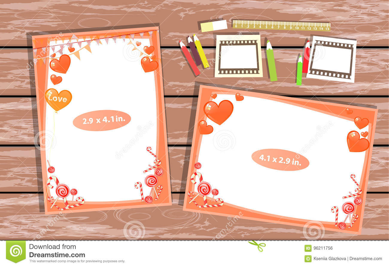 Photo Frame On The Table Horizontal And Vertical Stock Illustration