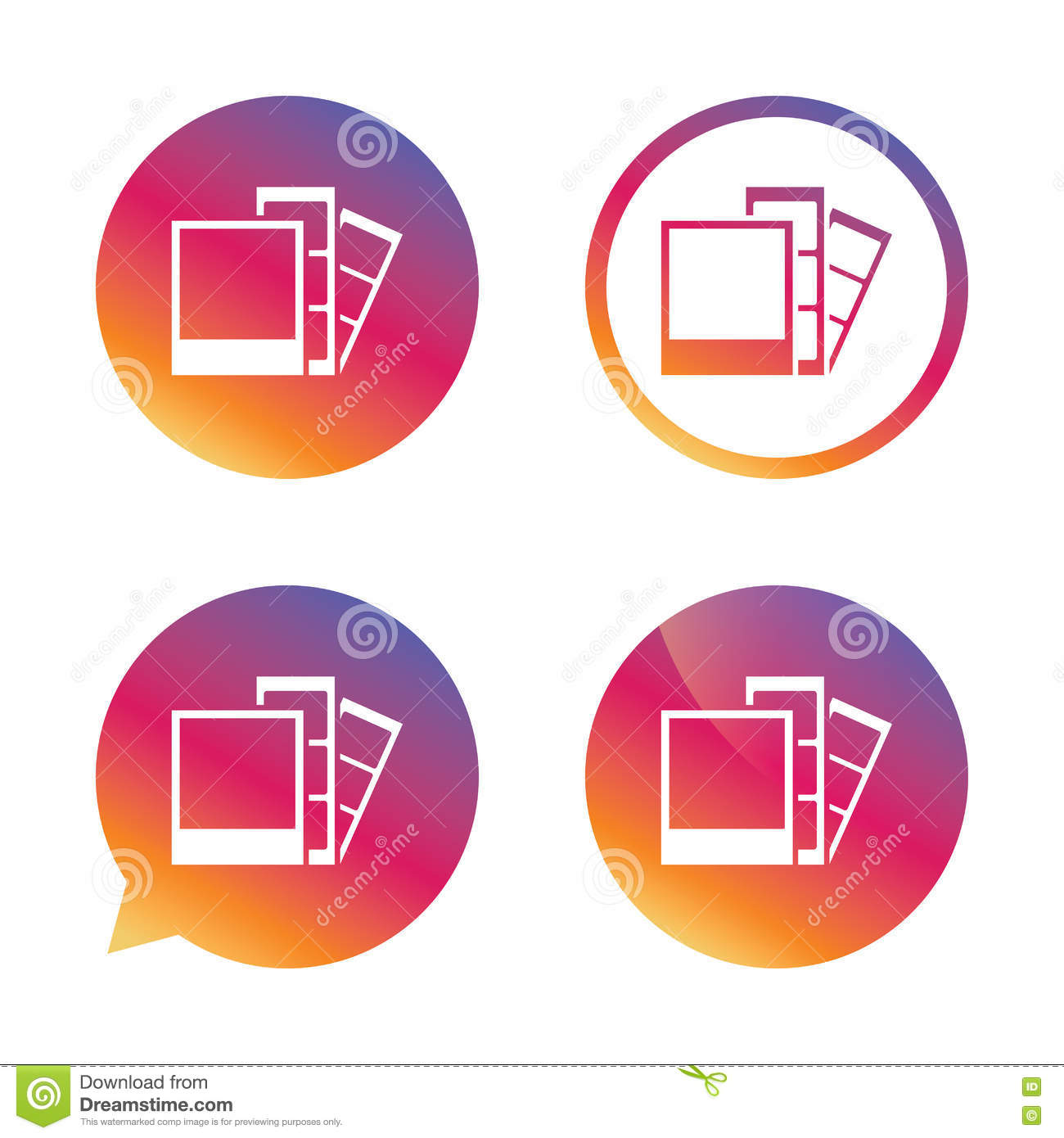Photo Frame Template Icon Strips Stock Vector Illustration Of