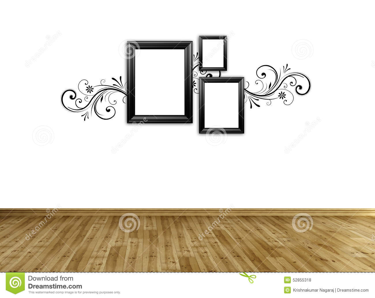 Modern Wall Frame Decor : Photo frame on wall stock illustration image