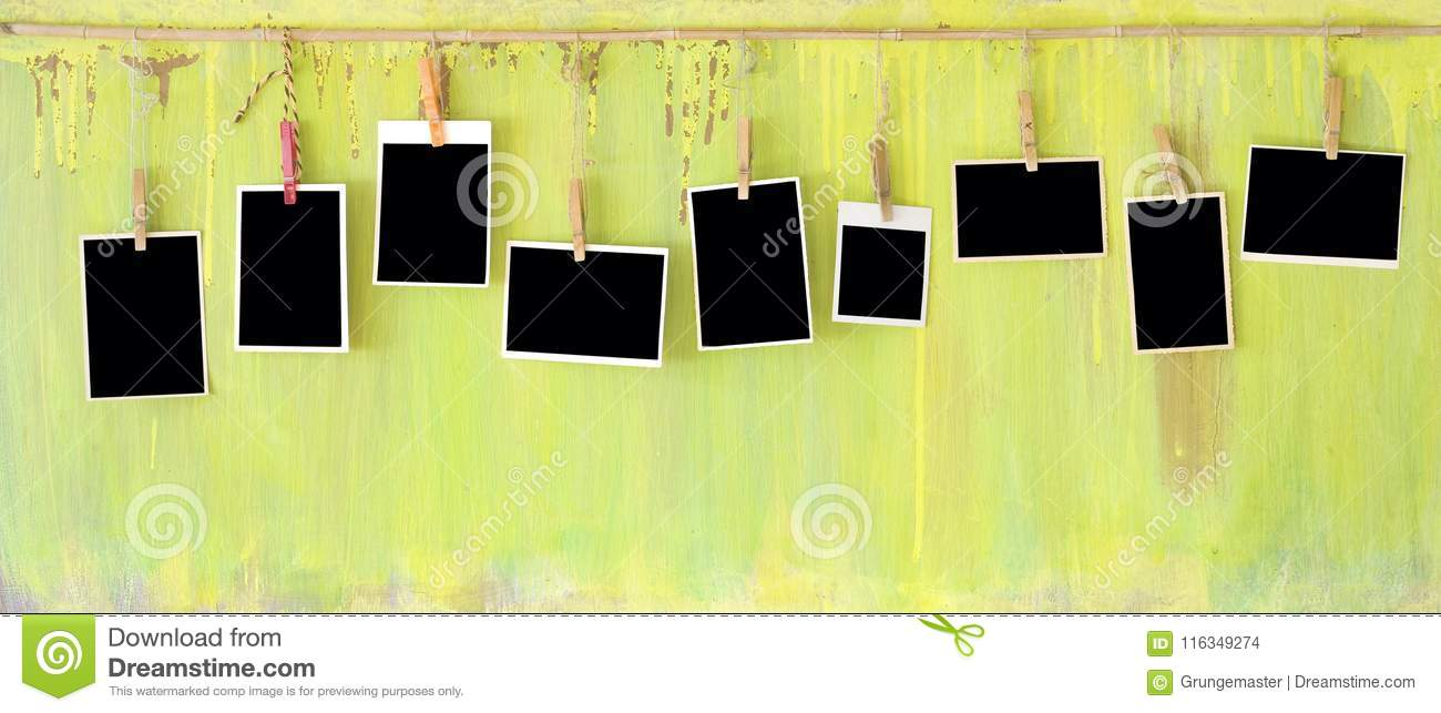 Photo Frames On Grungy Wall Stock Photo - Image of element ...