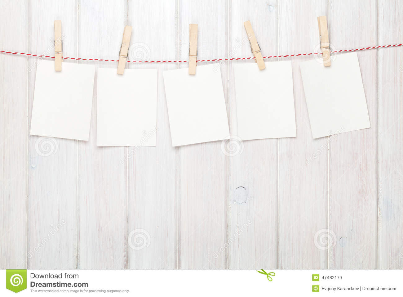 Photo Frames Hanging On Rope Stock Image - Image of objects ...