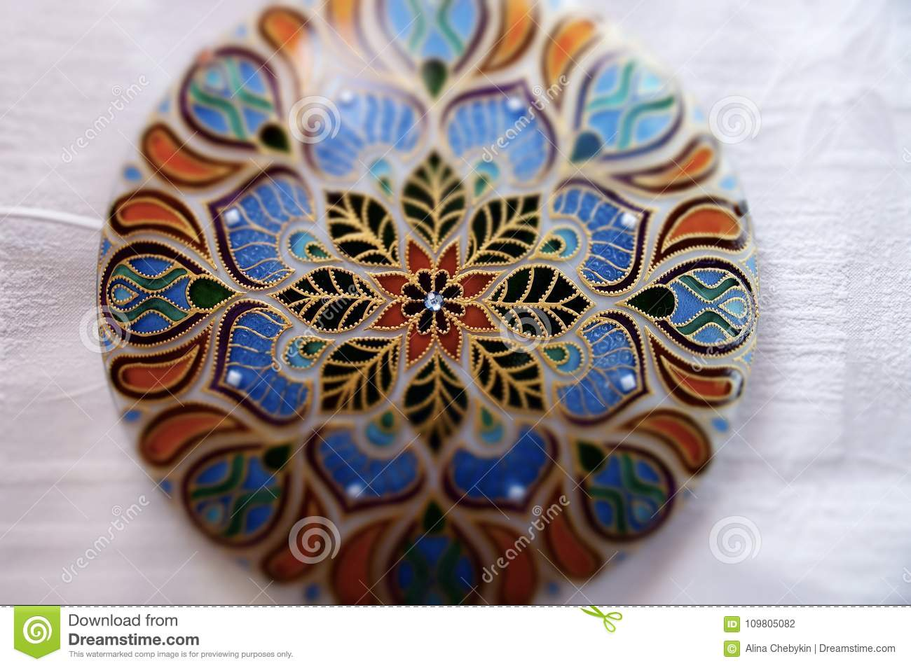 f3f6d8166d360 Hand Painted Lamp In Mandala Geometric Style Stock Photo - Image of ...